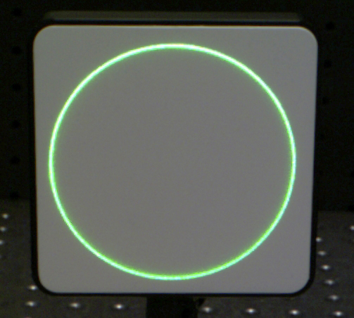 Green Laser Light from an Axicon at L = 355.6mm